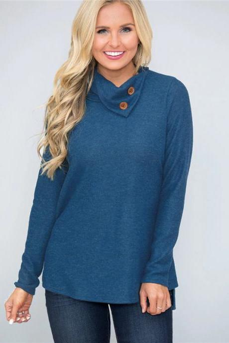 Women Pullover Tops Autumn Solid Button Double Collar Turtleneck Casual Loose Long Sleeve T-Shirt blue