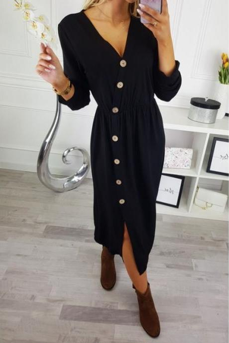 Women Maxi Dress Sexy V Neck Long Sleeve Side Split Button Casual Loose Beach Long Dress black