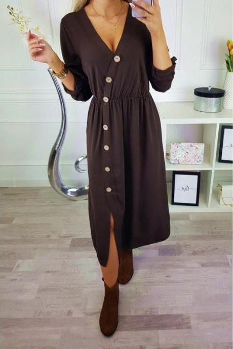Women Maxi Dress Sexy V Neck Long Sleeve Side Split Button Casual Loose Beach Long Dress coffee