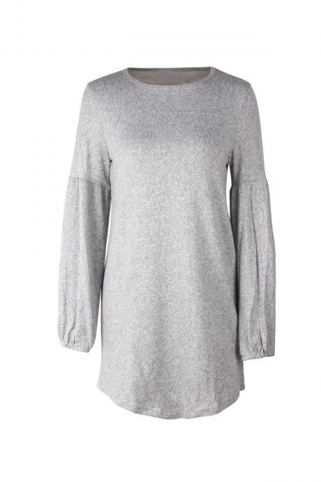 Women Knitted Dress Autumn Winter Long Lantern Sleeve Causal Loose Short A line Sweater Dress gray
