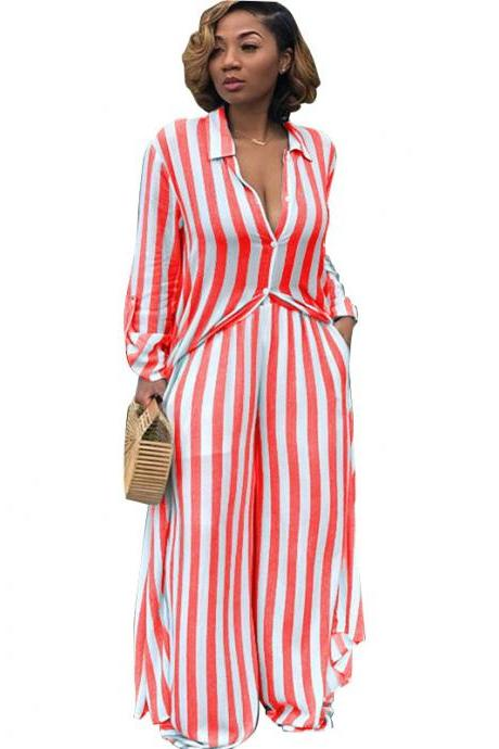 Women Striped Two Pieces Set Casual Loose Long Blouses Shirt and Wide Leg Pants Streetwear Suit red