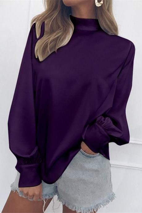 Women Blouse Autumn Turtleneck Lantern Long Sleeve Solid Casual Loose Office Tops Shirt purple