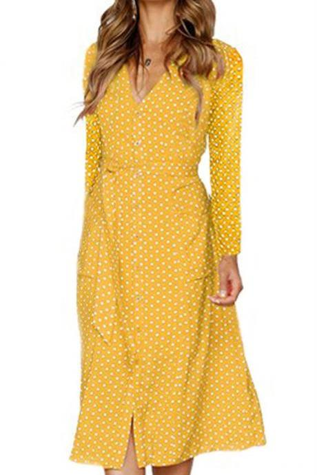 Women Polka Dot Shirt Dress Autumn V Neck Long Sleeve Belted Casual Midi Club Party Dress yellow