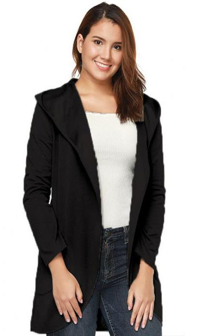 Women Woolen Blend Coat Autumn Solid Long Sleeve Casual Loose Hooded Plus Size Jacket Outwear black