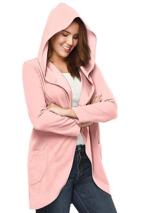 Women Woolen Blend Coat Autumn Solid Long Sleeve Casual Loose Hooded Plus Size Jacket Outwear pink