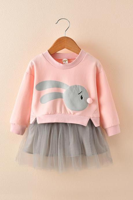 Baby Girl Dress Autumn Long Sleeve Cartoon Fake Two Pieces Patchwork Casual Children Kids Clothes pink