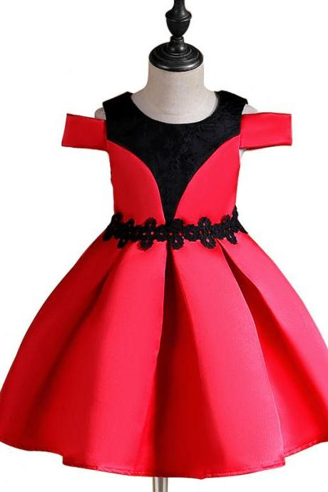 Off the Shoulder Flower Girl Dress Princess Formal Birthday Party Ball Gown Children Clothes red