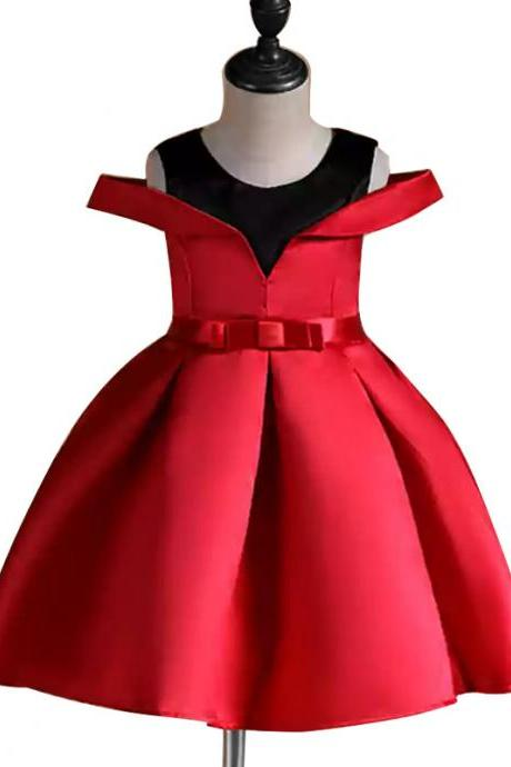 Off the Shoulder Flower Girl Dress Princess Formal Birthday Party Ball Gown Children Clothes red 1#