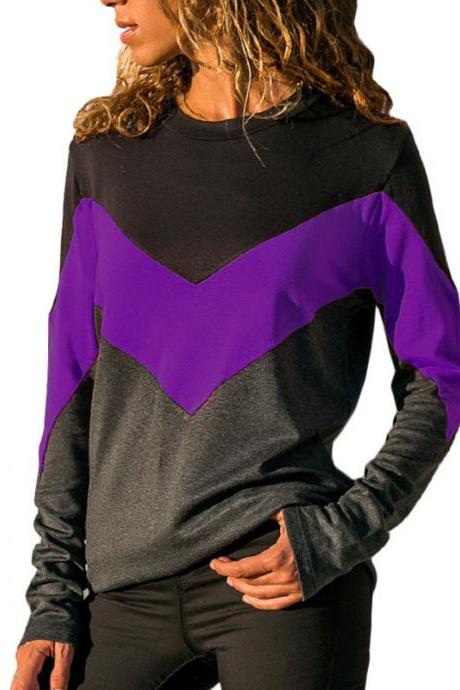 Women Long Sleeve T Shirt Spring Autumn O Neck Patchwork Color Casual Loose Tee Tops purple