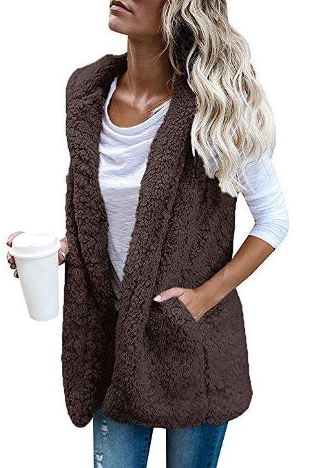 Women Fleece Waistcoat Autumn Winter Hooded Sleeveless Casual Loose Warm Open Stitch Vest Jacket Outwear coffee