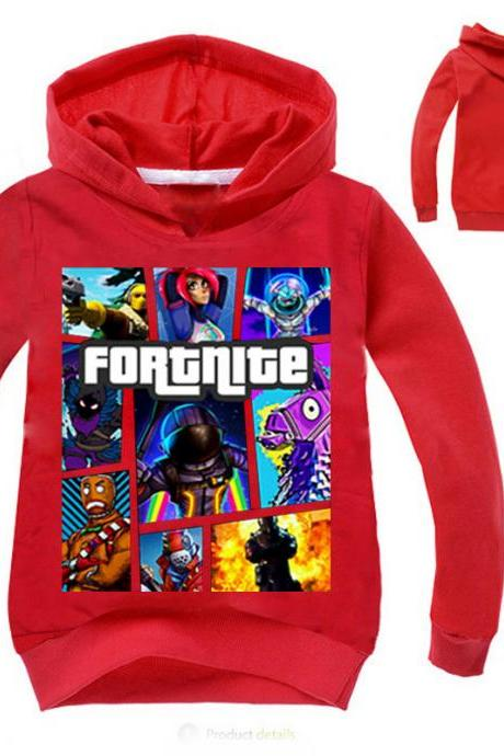 Fashion Boys Girls Sweatshirt Spring Autumn Cartoon Printed Long Sleeve T Shirt Kids Children Sport Hoodies red