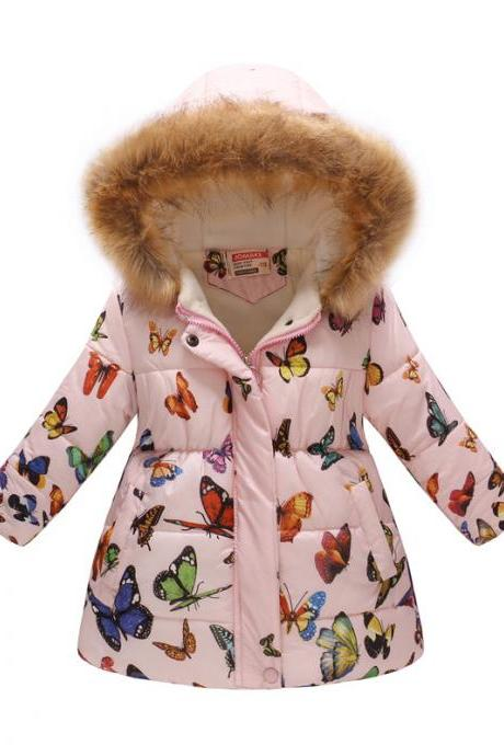 Kids Girls Cotton Down Coat Winter Floral Printed Long Sleeve Hooded Children Warm Thick Fleece Parka Jacket 8#