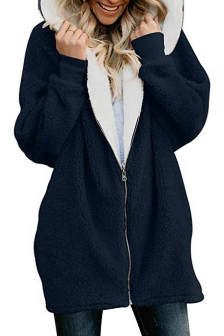 Women Plush Coat Autumn Winter Zipper Open Stitch Hooded Loose Long Sleeve Fleece Jacket Outerwear Overcoat navy blue