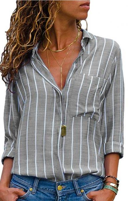 Women Striped Blouse Spring Autumn Turn-Down Collar V-Neck Long Sleeve Plus Size Casual Loose Tops Shirt gray