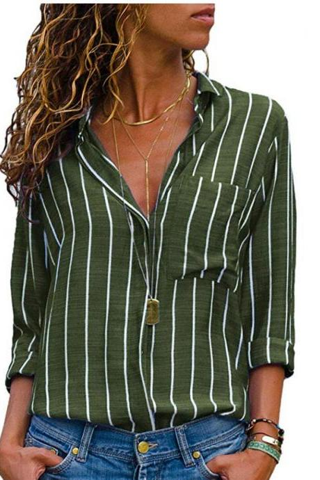 Women Striped Blouse Spring Autumn Turn-Down Collar V-Neck Long Sleeve Plus Size Casual Loose Tops Shirt green