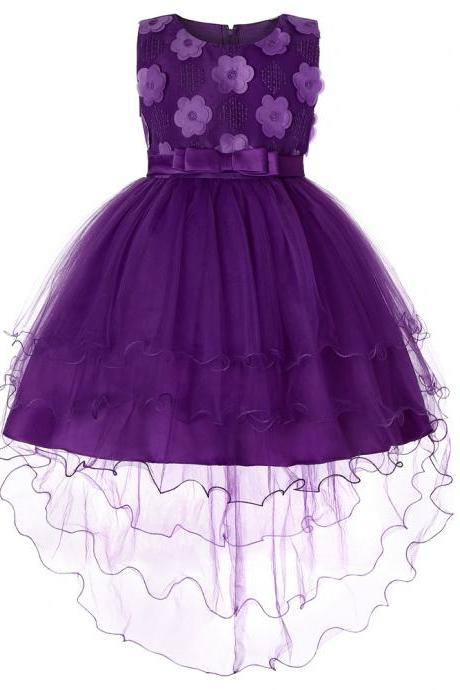 High Low Flower Girl Dress Trailing Bow Princess Wedding Birthday Party Gown Children Clothes purple