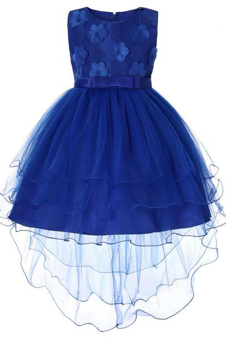 High Low Flower Girl Dress Trailing Bow Princess Wedding Birthday Party Gown Children Clothes royal blue