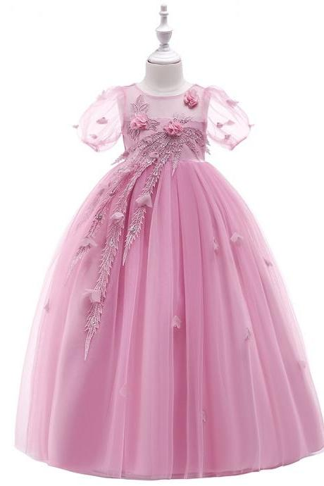 Long Flower Girl Dress Short Sleeve Princess Lace Teens Formal Perform Party Gown Children Clothes blush