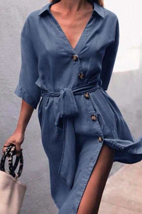 Women Denim Dress Sexy V-Neck Half Sleeve Belted Split Casual Loose Button Short Shirt Dress dark blue