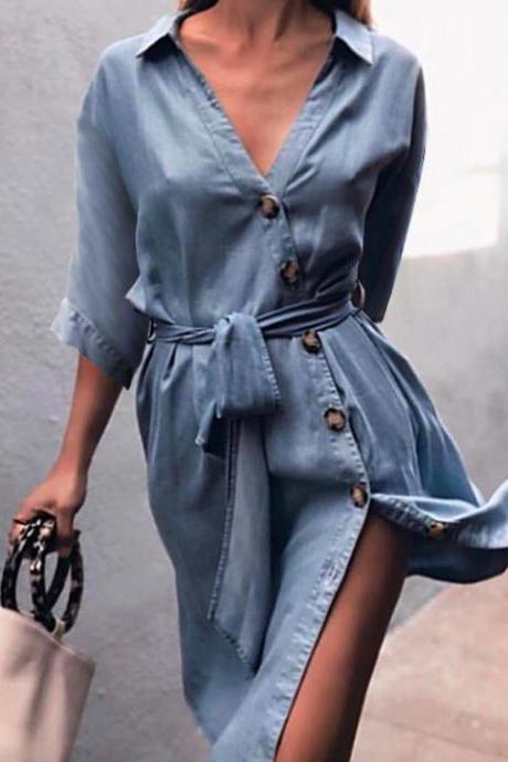 Women Denim Dress Sexy V-Neck Half Sleeve Belted Split Casual Loose Button Short Shirt Dress light blue