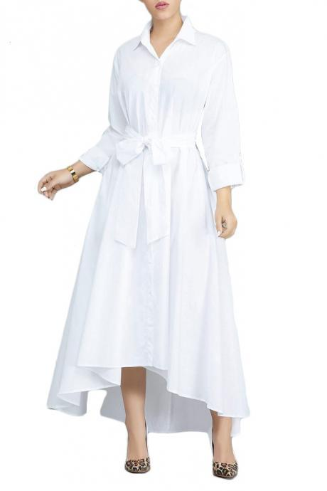 Women Asymmetrical Shirt Dress Autumn Solid Long Sleeve Belted Work Office OL Casual Maxi Dress off white