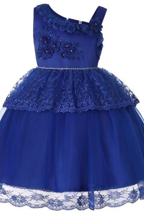Lace Flower Girl Dress One Shoulder Princess Wedding Birthday Party Ball Gown Children Clothes blue