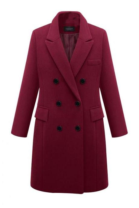 Women Long Woolen Blends Coat Autumn Winter Warm Turn-Down Collar Double Breasted Casual Long Sleeve Jacket Outerwear wine red