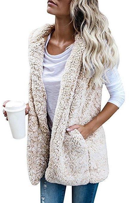Women Fleece Waistcoat Autumn Winter Hooded Sleeveless Casual Loose Warm Open Stitch Vest Jacket Outwear beige