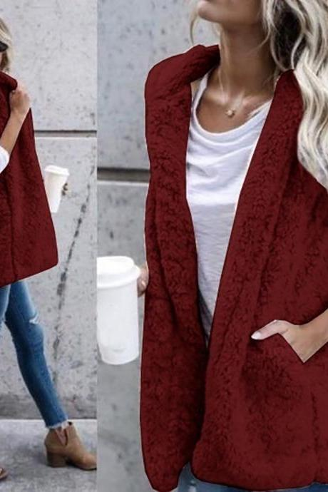 Women Fleece Waistcoat Autumn Winter Hooded Sleeveless Casual Loose Warm Open Stitch Vest Jacket Outwear crimson