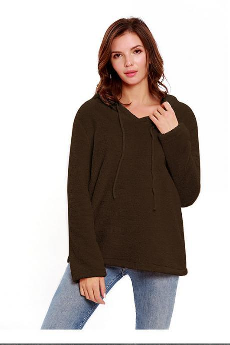 Women Hoodies Autumn Winter Solid Warm Casual Long Sleeve Pullover Top Fleece Sweatshirts black