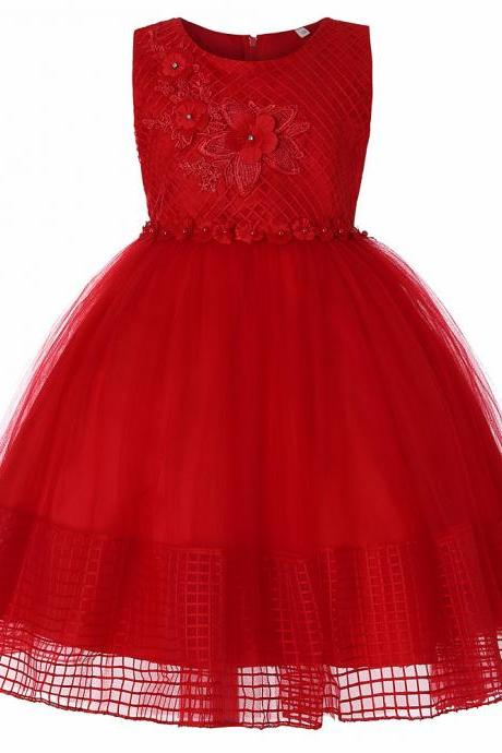 Lace Flower Girl Dress Sleeveless Princess Wedding First Communion Party Ball Gown Children Clothes red