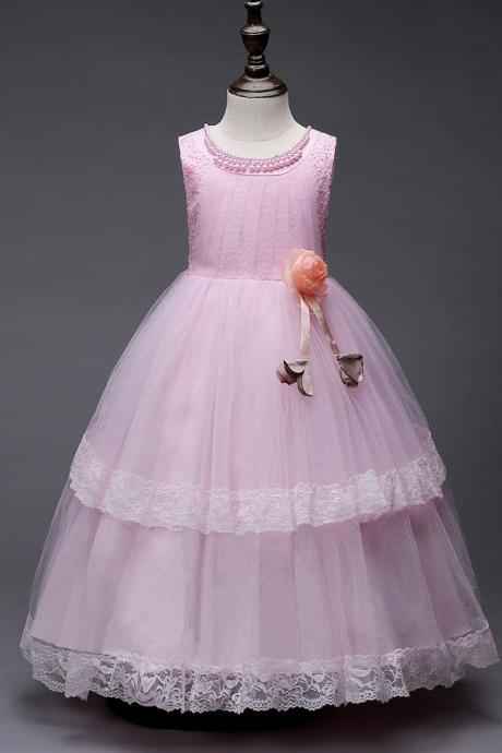 Princess Lace Flower Girl Dress Sleeveless Wedding Formal Birthday Party Christening Gown Kids Children Clothes pink
