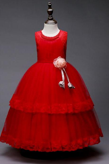 Princess Lace Flower Girl Dress Sleeveless Wedding Formal Birthday Party Christening Gown Kids Children Clothes red