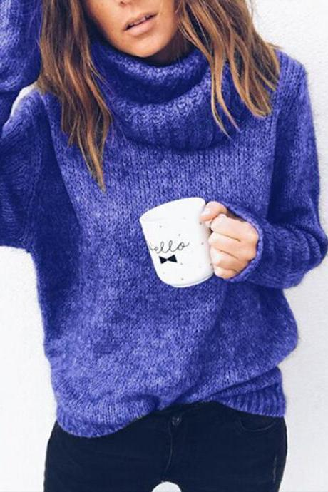 Women Knitted Sweater Autumn Winter Turtleneck Long Sleeve Solid Casual Loose Warm Pullover Tops blue