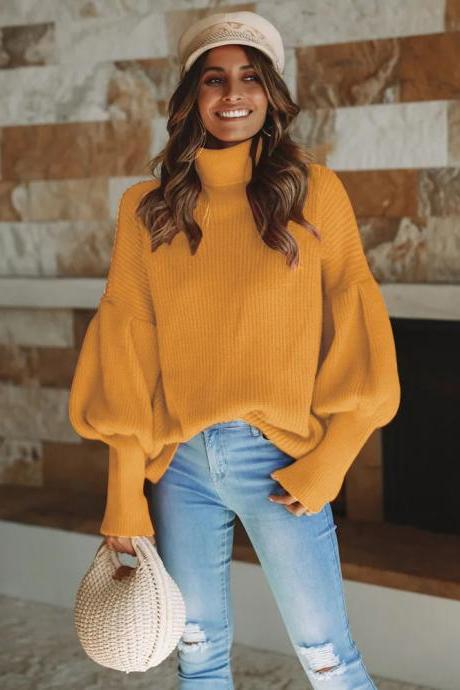 Women Knitted Sweater Autumn Winter Turtleneck Long Lantern Sleeve Solid Streetwear Casual Loose Warm Pullover Tops yellow