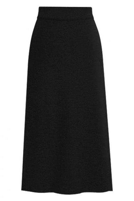 Women Knitted Pencil Skirt Autumn Winter High Waist Back Split Midi Package Hip Slim Bodycon Skirt black