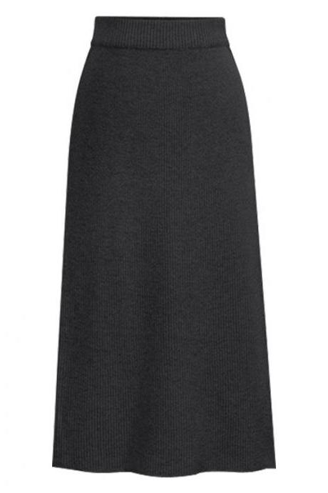 Women Knitted Pencil Skirt Autumn Winter High Waist Back Split Midi Package Hip Slim Bodycon Skirt dark gray