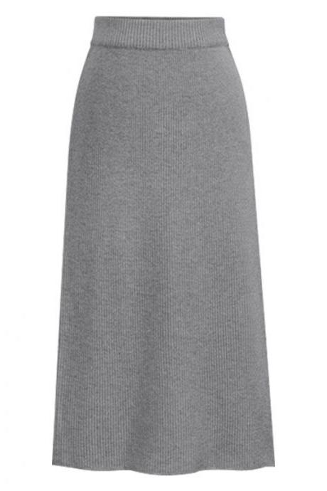Women Knitted Pencil Skirt Autumn Winter High Waist Back Split Midi Package Hip Slim Bodycon Skirt gray