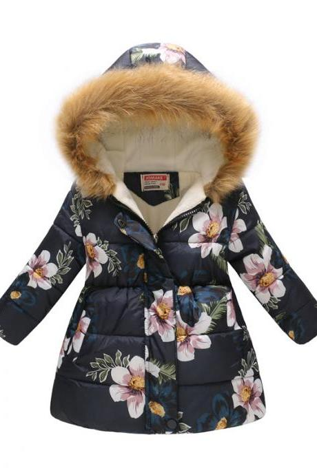 Kids Girls Cotton Down Coat Winter Floral Printed Long Sleeve Hooded Children Warm Thick Fleece Parka Jacket 1#