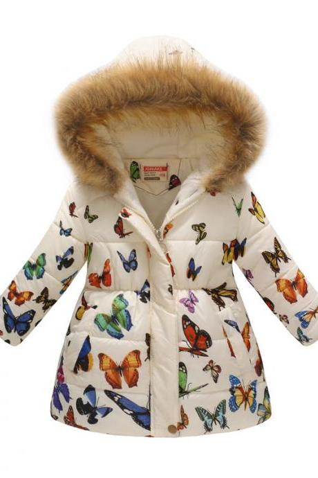 Kids Girls Cotton Down Coat Winter Floral Printed Long Sleeve Hooded Children Warm Thick Fleece Parka Jacket 2#