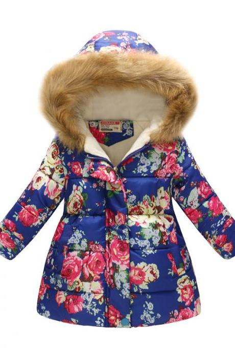 Kids Girls Cotton Down Coat Winter Floral Printed Long Sleeve Hooded Children Warm Thick Fleece Parka Jacket 9#