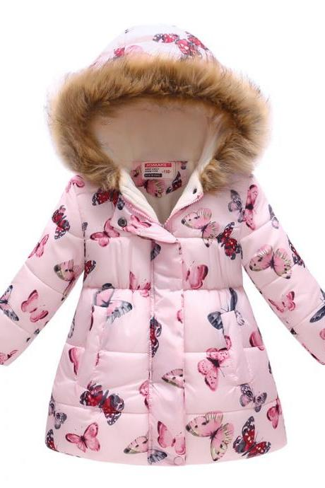 Kids Girls Cotton Down Coat Winter Floral Printed Long Sleeve Hooded Children Warm Thick Fleece Parka Jacket 13#