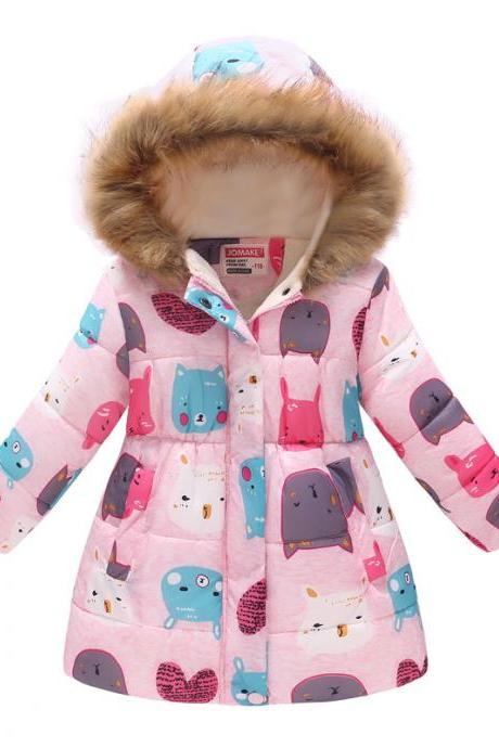 Kitty Cat and Bunny Printed Little Parka Winter Coat for Girls Kids