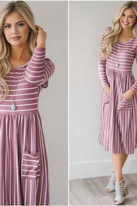 Women Casual Dress Autumn Long Sleeve Pocket Tie Streetwear Loose Striped/Floral Printed Midi Party Dress 100086-pink