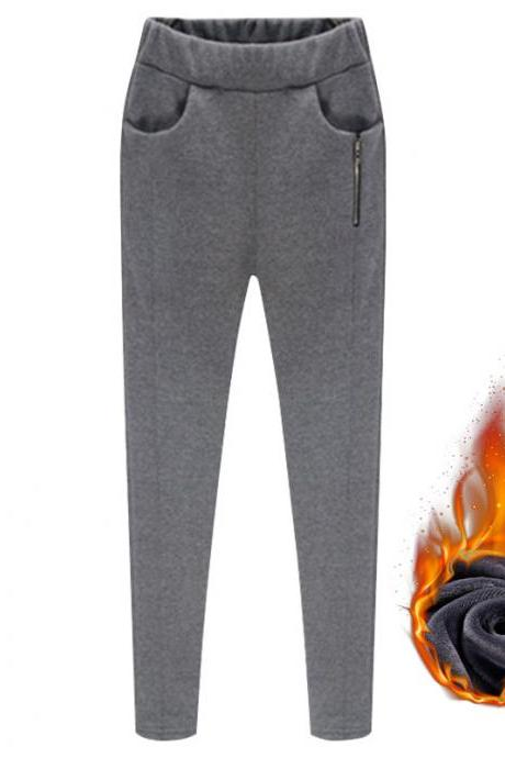 Women Harem Pants Plus Size High Waist Skinny Fleece Casual Warm Zipper Leggings Pencil Trousers gray fleece