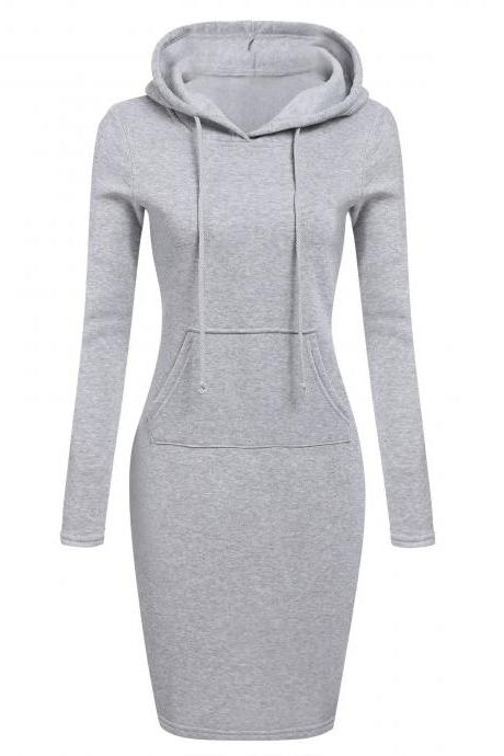 Women Sweatshirt Dress Autumn Winter Long Sleeve Hooded Pockets Casual Slim Hoodie Dress gray