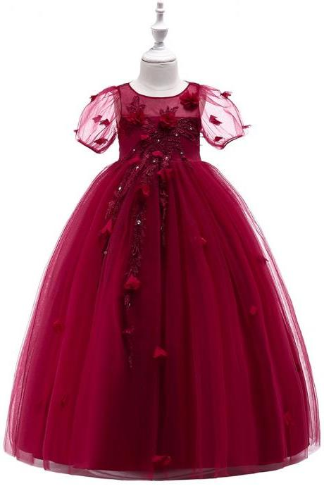 Princess Flower Girl Dress Short Sleeve Teens Formal Birthday Prom Party Long Gowns Children Clothes crimson