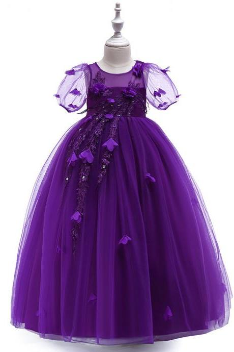Princess Flower Girl Dress Short Sleeve Teens Formal Birthday Prom Party Long Gowns Children Clothes purple