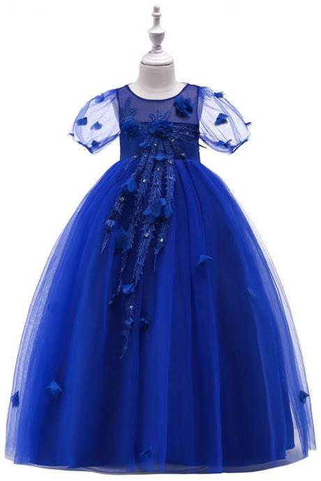 Princess Flower Girl Dress Short Sleeve Teens Formal Birthday Prom Party Long Gowns Children Clothes royal blue