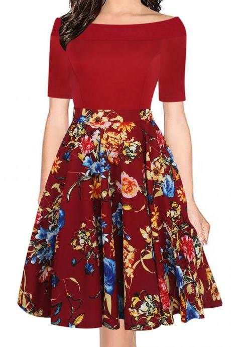 Women Floral Printed Dress Off the Shoulder Short Sleeve Patchwork Slim A Line Formal Party Dress 1#